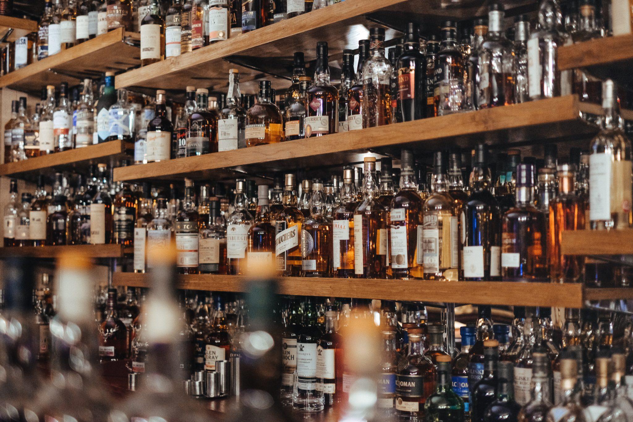 Bar wall of Bourbon