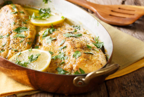 Baked oven trout lemon and seasoning